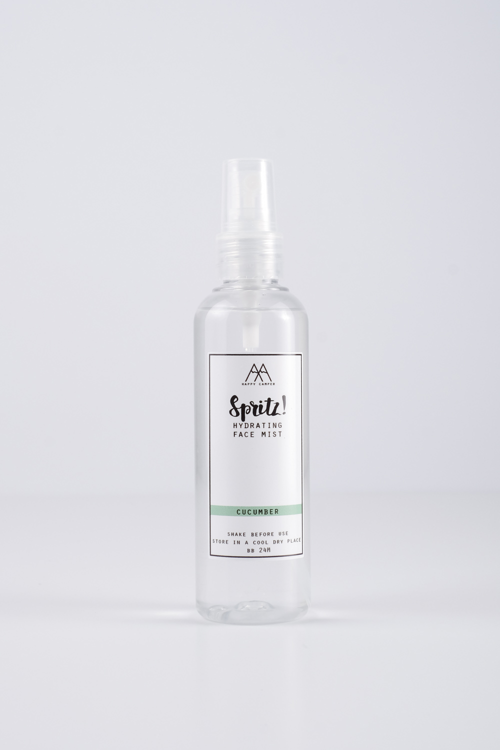 Happy Camper PH Spritz! Hydrating Face Mist (Cucumber) — Freshen up with the Spritz! Hydrating Face Mist. With anti-inflammatory and soothing properties. Great for all skin types! Contains:  Rose Hydrosol – Aloe Vera Extract – Witch Hazel – Rose EO – 100ml