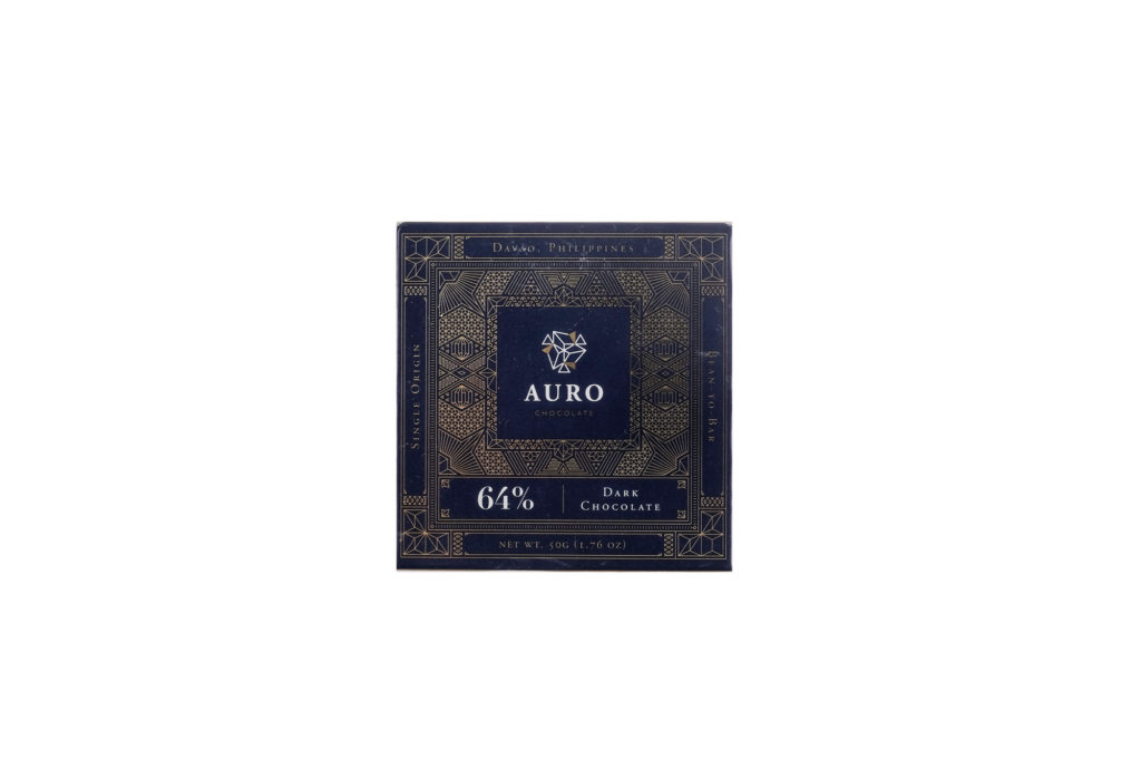 Auro 64% Dark Chocolate (50G Bar) — Davao-origin, bean-to-bar chocolate bursting with pronounced cocoa flavors and vibrant fruity notes. Shelf Life: One (1) year from date of production; see consume before date label.