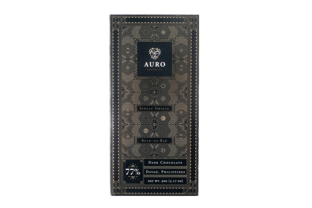 Auro 77% Dark Chocolate (90G Bar) — Davao-origin, bean-to-bar chocolate bursting with pronounced cocoa flavors and vibrant fruity notes. Shelf Life: One (1) year from date of production; see consume before date label.