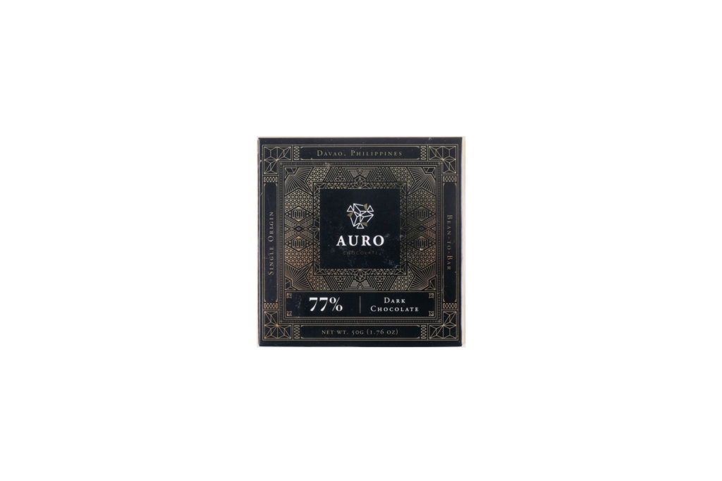 Auro 77% Dark Chocolate (50G Bar) — Davao-origin, bean-to-bar chocolate bursting with pronounced cocoa flavors and vibrant fruity notes. Shelf Life: One (1) year from date of production; see consume before date label.